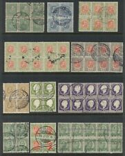 ICELAND 1902/1922 Group of Blks of 4 and larger multiples, used,