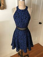 City Triangles Party Dress Blue Lace Skater Skirt High Neck NEW Juniors 7