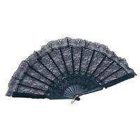 Black Lace Hand Fan Masquerade Ball Womens Fancy Dress Accessory