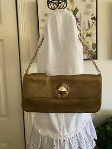 Kate Spade Gold Leather Clutches Turn Lock Chain Strap Handbag