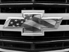 Chevy Silverado Emblem Bowtie American Flag Overlay Decals Stickers Black White