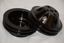 Black Aluminum Chevy 2 Groove Long Water Pump + Crankshaft Pulley SBC 350