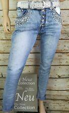 Trendy Edel Stretch  Boyfriend Baggy Jeans  Hose Used Strass Stonewashed 42 XL
