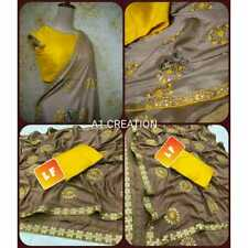 Embroidery Indian Saree Party wear Traditional Designer Wedding Cultural Sari