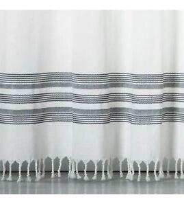 Threshold Striped Fringe Shower Curtain  Black/Off White
