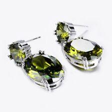 Handmade Huge Natural Olive Peridot Gemstone Silver Woman Stud Hook Earrings