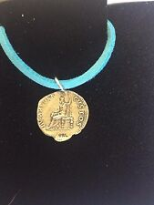 "Denarius Of Nero Pewter Coin WC21 Made From Pewter On  18"" Blue Cord Necklace"