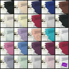 Plain Dyed Poly Cotton Flat and Fitted Sheet Set with Pillow Case Bedding Set