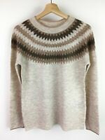 Oasis Womens Fairisle Natural Beige Sparkle Knitted Jumper XS -XL  RRP £42