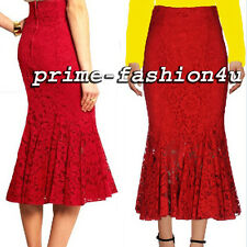 Dolce & Gabbana Red Lace High waisted Flounce hem Mermaid Midi Skirt