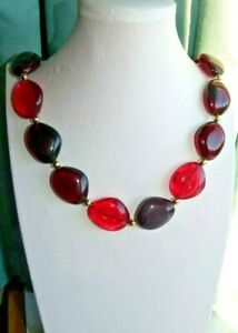 JEWELLERY PRETTY SINGLE STRAND NECKLACE OVAL BEADS IN RED & PINK TONES 617