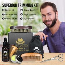 Complete Men Beard Mustache Grooming Trimming Set Oil + Balm + Scissors + Brush