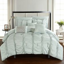 Luxurious 10 PC Light Green Pinch Pleated Complete Bed In A Bag W/Sheet Set New.