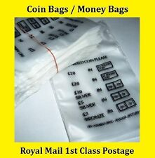 50 Plastic Coin Bags Money Bank Bags No Mixed Coins Change Cash Retail Bag New