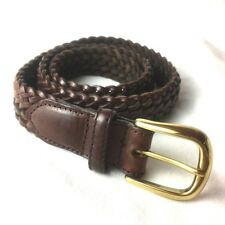 Elegant Land's End Plaited Brown Leather Belt with gold buckle ~ 30""