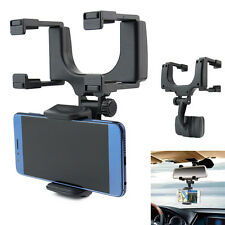 Universal Car Rearview Mirror Phone Mount Holder Stand Cradle Mechanical Clamp