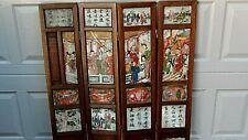 Antique 18c Chinese 4 Panel Screen W/4 Marble Finely Painted Both Side Panels #2