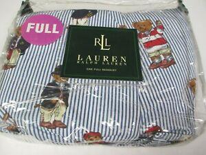 New Ralph Lauren Polo TEDDY BEAR Blue Striped Ruffled Bedskirt - Full