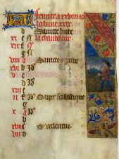 Miniature Stundenbuch Book of Hours calendrier février Manuscrit Paris 1480