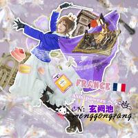Anime Axis Powers Hetalia Nyotalia France Women Dress Set Cosplay Costume Any Si