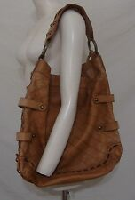 Isabela Fiore Hobo Bag Large Leather Chains Studs Purse Brown Wide Strap Trends