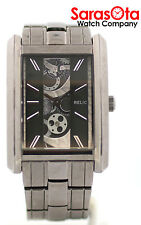 Relic ZR77133 Skeleton Dial Gunmetal Stainless Steel Rectangle Quartz Mens Watch
