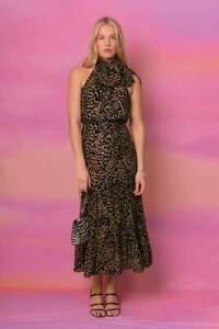 BNWT Rixo Eleanor Leopard Burnout Halterneck Tie Midi Dress Size L XL