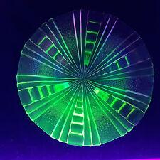 große Uranglas Schale 2 farbig grün und rosalin Glas 28cm Dm in TOP Art Deco RAR
