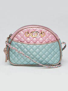 Gucci Pink/Green Quilted Metallic Leather Trapuntata Mini Crossbody Bag