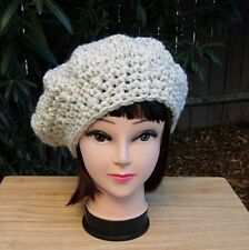Off White Chunky Beret Cap Women's Wool Blend Winter Crochet Knit Slouchy Beanie