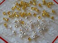 100 Clamshell Bead Tips Calottes Crimp End Cap w/ Loop Gold/Silver/Black 4x2.5mm
