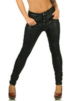 Jewelly Damen Kunstleder Baggy Boyfiend Hose Skinny Crash Lederjeans Jeans XS-XL