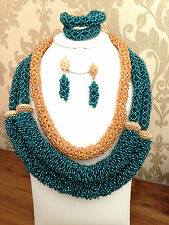 Teal Green & Gold 3 layers African Nigerian Bridal Wedding Party Beads Set