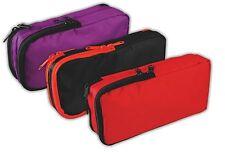Large Rectangular Nylon Pencil Case Double 2 Pocket Zip Zipped Red Purple Black