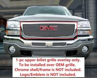 Billet Grille Grill Upper Overlay For 2003-2007 GMC Sierra 1500 2500 3500
