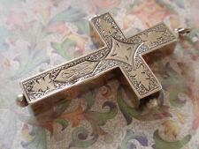 Antique Victorian 14k Gold Cross Pendant French Reliquary Memento
