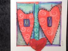 Handmade Blank Inside Artsy Hearts Watercolored  Add-on Red Heart says Love you!