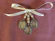Stunning Bridal Bouquet Triple Oval Photo Frame Memory Charm Wedding Ivory
