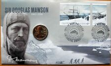 AUSTRALIAN SIR DOUGLAS MAWSON 2012 PNC STAMP AND $1 COIN COVERS