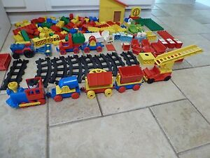 LARGE VINTAGE DUPLO LOT, TRAIN, TRACK, TRACTOR HOUSEHOLD RARE PIECES- LOOK-