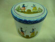 HB Henriot Quimper Round Folk Art Decorative Massilly Biscuit Tin Made in France