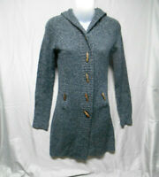 Takeout long hooded gray black cardigan sweater womens size small