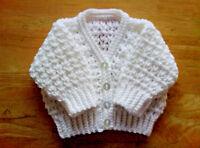 Handmade Hand Crocheted Unisex V-Stitch Baby Cardigan 100% acrylic various cols