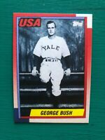 1990 Topps GEORGE BUSH Yale University Presidential Baseball REPRINT Card # USA1