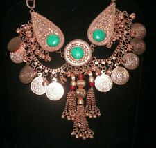NECKLACE COPPER COIN & CUSTOM EMERALD GREEN MEDALLION CHOKER, TRIBAL BELLY DANCE