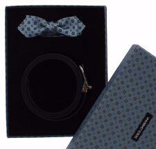 NEW DOLCE & GABBANA Gift Box Blue Silk Bowtie Leather Men Belt 115cm / 46in