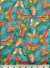 Fabric #2000 Pink Green Butterflies on Teal Metallic Kona Bay, Sold by 1/2 Yard