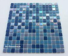 Glasmosaik - Mosaik Matte auf Netz Metallic-Blau 32,7x32,7cm; Steinchen 2x2cm