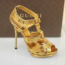 $1350 New Gucci Gladiator Python Platform Pump Sandals 38.5/US 8.5 265850 2631
