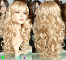 Hot! New Lady Sexy Long wavy curly Blonde Party Hair Wig + cap